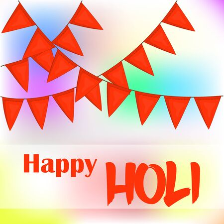 pichkari: Colorful abstract background or greeting card with orange flags for Indian Traditional Festival. Happy Holi poster or placard template in simple cartoon style. Vector illustration. Holiday Collection. Illustration