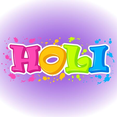 Colorful abstract background for Indian Traditional Festival. Happy Holi poster or sticker or symbol in simple cartoon style. Vector illustration. Holiday Collection.