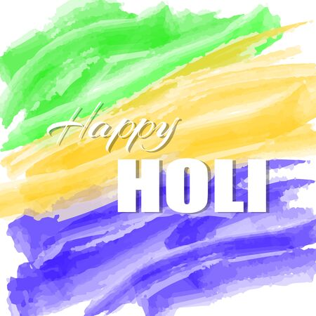 Colorful abstract watercolor background or greeting card for Indian Traditional Festival. Happy Holi poster or placard template in simple cartoon style. Vector illustration. Holiday Collection.