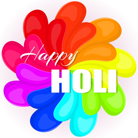 Colorful abstract background or greeting card for Indian Traditional Festival. Happy Holi poster or placard template in simple cartoon style. Vector illustration. Holiday Collection.
