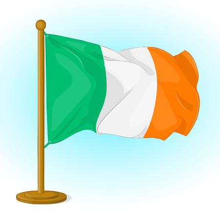 Irish waving small flag icon for your design isolated on blue background in cartoon style. Vector illustration. Holiday Collection.