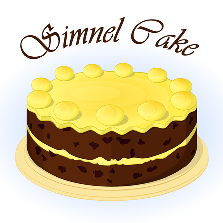 Traditional festive simnel cake to celebrate Mothering Sunday. Pattern for Easter in simple cartoon style. Vector illustration. Holiday Collection.