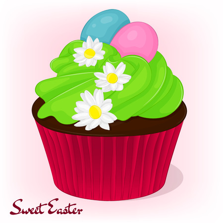 Yummy cupcake for Easter with chamomiles flowers and eggs. Holiday background, poster or placard template in cartoon style. Vector illustration. Holiday Collection. Illustration