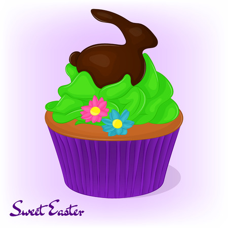 mothering: Yummy cupcake for Easter with flowers and chocolate rabbit. Holiday background, poster or placard template in cartoon style. Vector illustration. Holiday Collection.