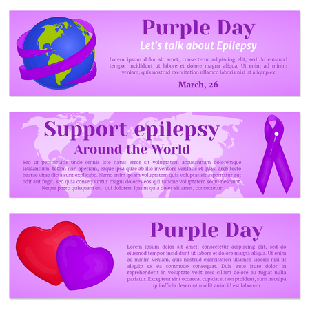 article marketing: Purple Day banners with globe, ribbon and hearts for greeting card, ad, promotion, poster, blog, article, web page, header, billboard or marketing isolated on white background in cartoon style. Vector illustration. Holiday Collection.