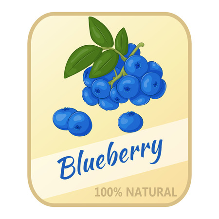 whortleberry: Vintage label with blueberry isolated on white background in cartoon style. Vector illustration. Berries Collection.