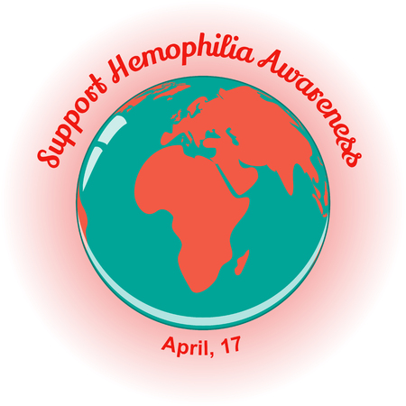 hemophilia: World Hemophilia Day background with globe.