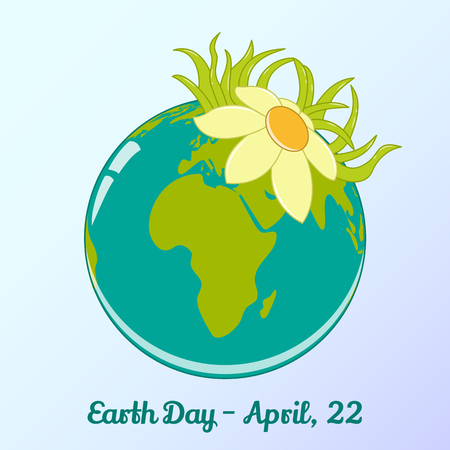 literacy: Background with globe and flower in cartoon style for World Earth Day. Environmental and Climate Literacy. Vector illustration, card, banner, poster, calendar or placard template. April 22. Holiday Collection.