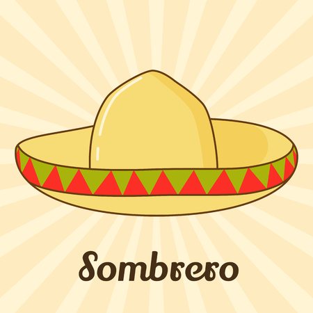 Sombrero icon for you design in cartoon style. Vector illustration. Holiday Collection.