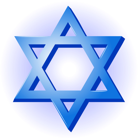 Star of David. Seal of Solomon Icon for your design in simple cartoon style for Israel Independence Day. Illustration