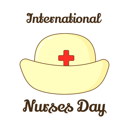 registered nurse: A Background for International Nurses Day. Vector illustration for you design, card, banner, sticker, poster, calendar or placard template in cartoon style. Holiday Collection. Illustration