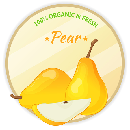 Vintage label with pear isolated on white background in cartoon style. Vector illustration. Fruit and Vegetables Collection.