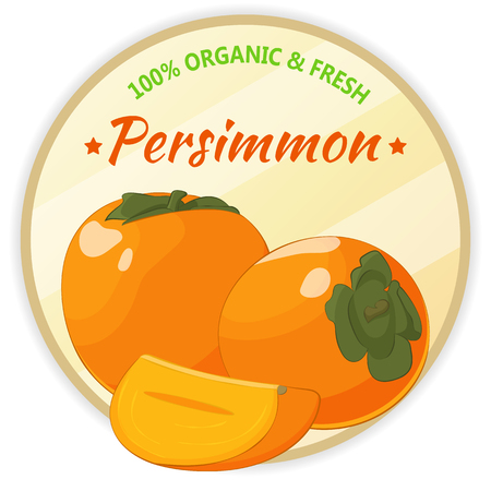 Vintage label with persimmon isolated on white background in cartoon style. Vector illustration. Fruit and Vegetables Collection.