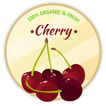isolate: Vintage label with cherry isolated on white background in cartoon style. Vector illustration. Fruit and Vegetables Collection. Illustration