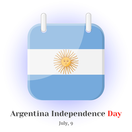 Calendar Icon with Argentina flag and lettering for your design isolated on blue background in cartoon style for Independence Day. Vector illustration. Holiday Collection. Illustration