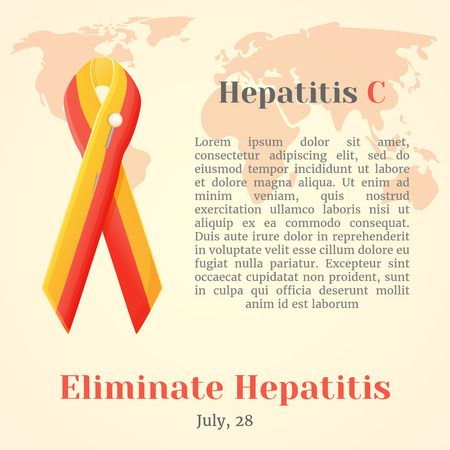 human liver: World Hepatitis Day. Colorful awareness ribbons isolated over world map in simple cartoon style. Vector illustration. Holiday Collection.