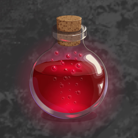 Bottle with red potion. Game icon of magic elixir. Bright design for app user interface. Life, love, blood, rage, fury, damage. Vector illustration. Icons Collection. Vettoriali
