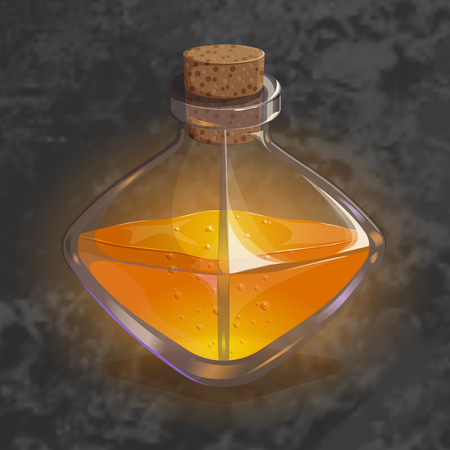 survive: Bottle with orange potion. Game icon of magic elixir. Bright design for app user interface. Speed, strength, luck, stamina, happiness. Vector illustration. Icons Collection. Illustration