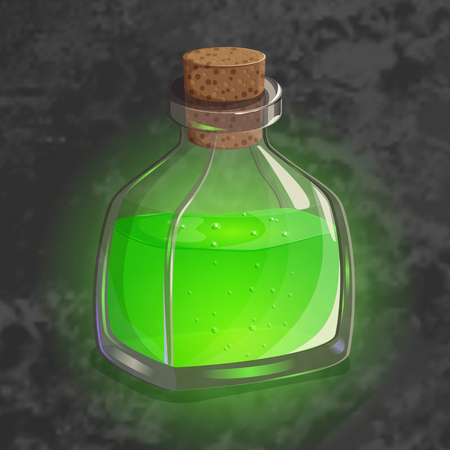Bottle with green potion. Game icon of magic elixir. Bright design for app user interface. Shrinking, poison, augury, forefeeling, transform. Vector illustration. Icons Collection.