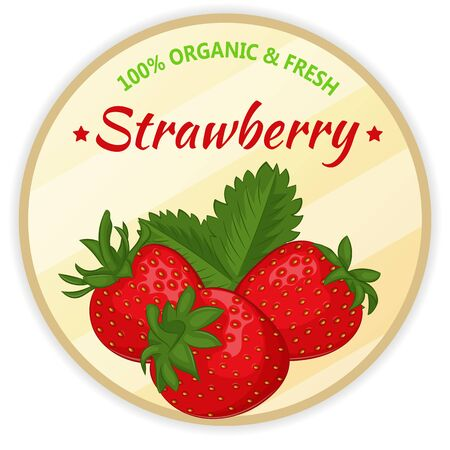 Vintage label with strawberry isolated on white background in cartoon style. Vector illustration. Fruit and Vegetables Collection.