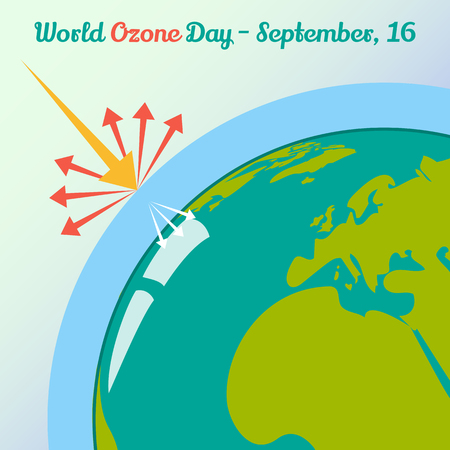 ozone layer: Global warming concept for World Ozone Day in cartoon style. 16 September. Vector illustration. Holiday Collection. Illustration