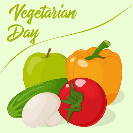 Fresh and tasty vegetables for your design. Illustration