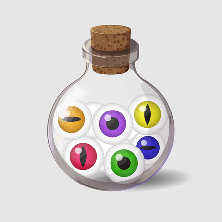Bottle with eyes. Game icon of magic ingredient in cartoon style. Bright design for app user interface. Life, love, blood, rage, fury, damage. Vector illustration. Icons Collection.