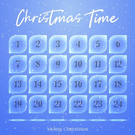 Christmas Advent calendar, background, poster made of ice floes. Winter scene. Vector illustration for Holiday Collection.