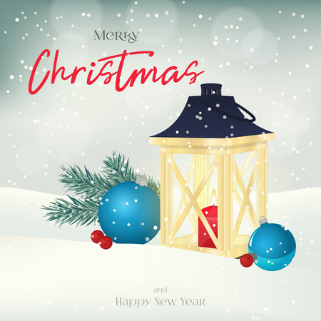 Christmas greeting card or poster with lantern, fir-tree, balls and berries in the snow. Vector illustration for holiday collection.