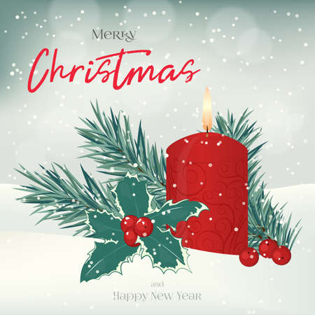 Christmas greeting card, background, poster with candle, fir-tree, holly and berries in the snow. Winter scene. Vector illustration. Holiday Collection.