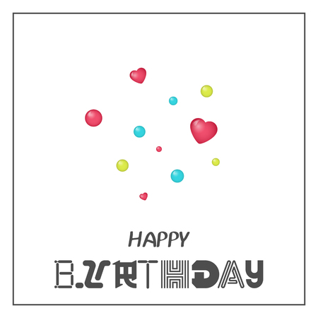 Bright Happy Birthday Greeting Card With Hearts In Minimalist