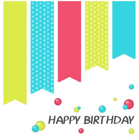 Bright Happy Birthday Greeting Card In Minimalist Style Modern