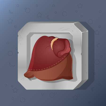 Game icon of pouch in cartoon style.