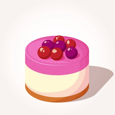Colorful cheesecake with berries in cartoon style isolated on a white background.