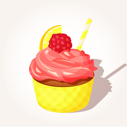 Colorful tasty lemon cupcake with pink cream and raspberry in cartoon style isolated on white background. Vector illustration. Desserts Collection.