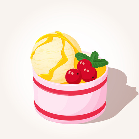 Colorful tasty ice-cream with berries and mint in cartoon style isolated on white background. Vector illustration. Desserts Collection. Ilustrace