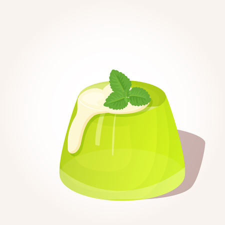 Colorful tasty green jelly with creme and mint in cartoon style isolated on white background.