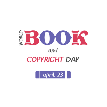 Hand drawn elegant modern lettering with book icon for World Book and Copyright Day.