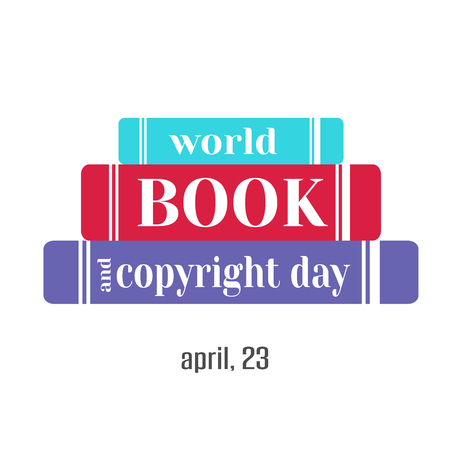 Hand drawn elegant modern lettering with books icon for World Book and Copyright Day isolated on white background. Vector illustration. Holiday Collection.