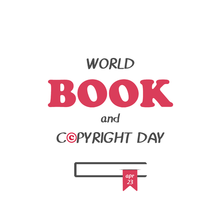 Hand drawn elegant modern lettering with book icon for World Book and Copyright Day isolated on white background. Vector illustration. Holiday Collection. Ilustrace