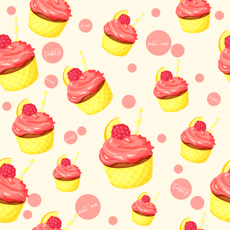 Colorful seamless pattern with tasty lemon cupcake with pink cream and raspberry in cartoon style vector illustration desserts collection.