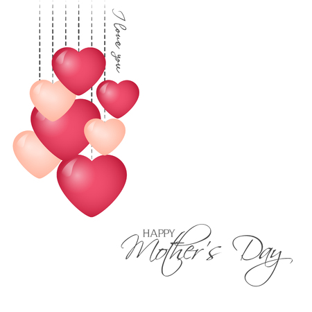 Bright greeting card in minimalist style for Mothers day. Modern badge or label with message Happy Mothers Day with hearts. Vector illustration for Holiday Collection.