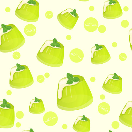Colorful seamless pattern with tasty green jelly with creme and mint in cartoon style. Vector illustration. Desserts Collection.
