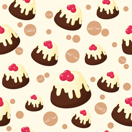 Colorful seamless pattern with tasty chocolate pie and berries in cartoon style. Vector illustration. Desserts Collection.