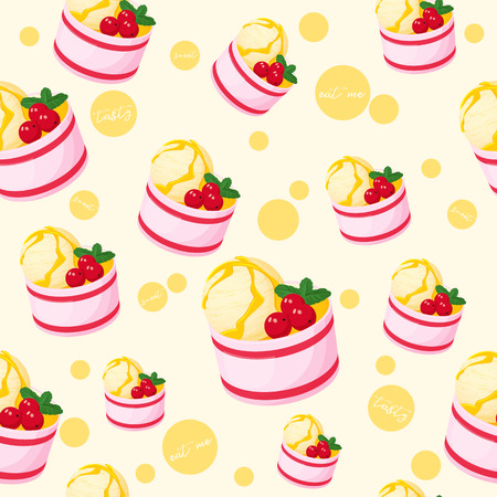Colorful seamless pattern with tasty ice-cream with berries and mint in cartoon style.