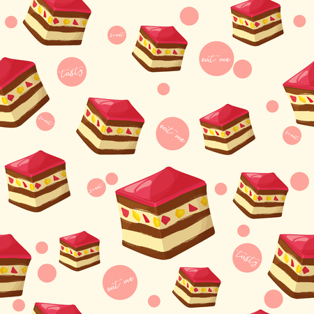 Colorful seamless pattern with tasty piece of cake and jelly in cartoon style.