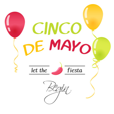 Bright greeting card with hand drawn lettering for Cinco de mayo in minimalist style. Vector illustration. Holiday Collection.