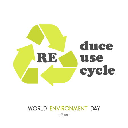 Modern card with recycle sign and hand drawn lettering in minimalist style for World environment day. Reduce, reuse, recycle. Vector illustration for Holiday Collection.