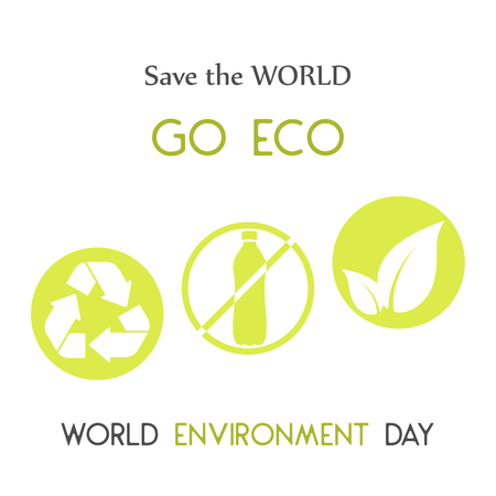 Modern card with recycle sign and hand drawn lettering in minimalist style for World environment day. Go Eco, save the world. Vector illustration for Holiday Collection. Ilustrace