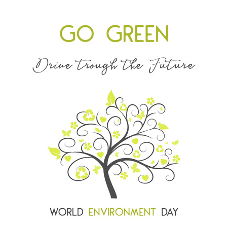 Modern card with simbol of tree and hand drawn lettering in minimalist style for World environment day. Go green, drive through the future. Vector illustration for Holiday Collection. Ilustrace